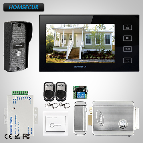 HOMSECUR 7 Wired Video&Audio Smart Doorbell Electric Lock+Keys Included TC031 Camera+TM704-B Monitor