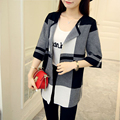 2016 New Autumn Women Cardigans Plaid O-Neck Half Sleeve Long Cardigan Sweaters Female Casual Knitted Tops Women Clothes