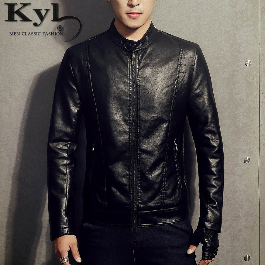 New 2017PU Leather Jacket Men Black Red Brown Solid Mens Faux Fur Coats Trend Slim Fit Youth Motorcycle Suede Jacket MaleBSGD983