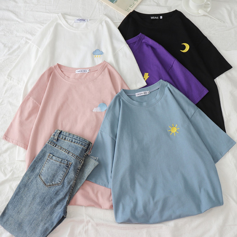 Women Harajuku Kawaii Candy Colors Tshirt Korean Weather Embroidery Loose All-match T Shirt Summer Short Sleeve Simple T-shirts