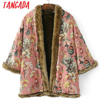 Tangada Women Thick Warm Faux Fur Mid Long Coat Winter Floral Print Kimono Jacket Double Face Casual Outerwear 2017 HY12