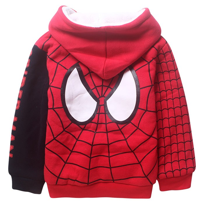 5-9 Y Spiderman hoodie boy jackets fur coat kids hooded bomper jacket winter autumn warm outwear cloth Size For 5 6 7 8 9 years (4)