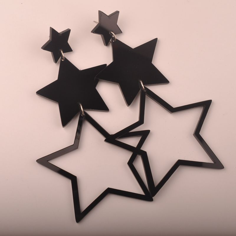 Fashion Long Black Star Drop Earrings Exaggerated Punk Style Trendy Earring For Women S Jewelry In From Accessories On