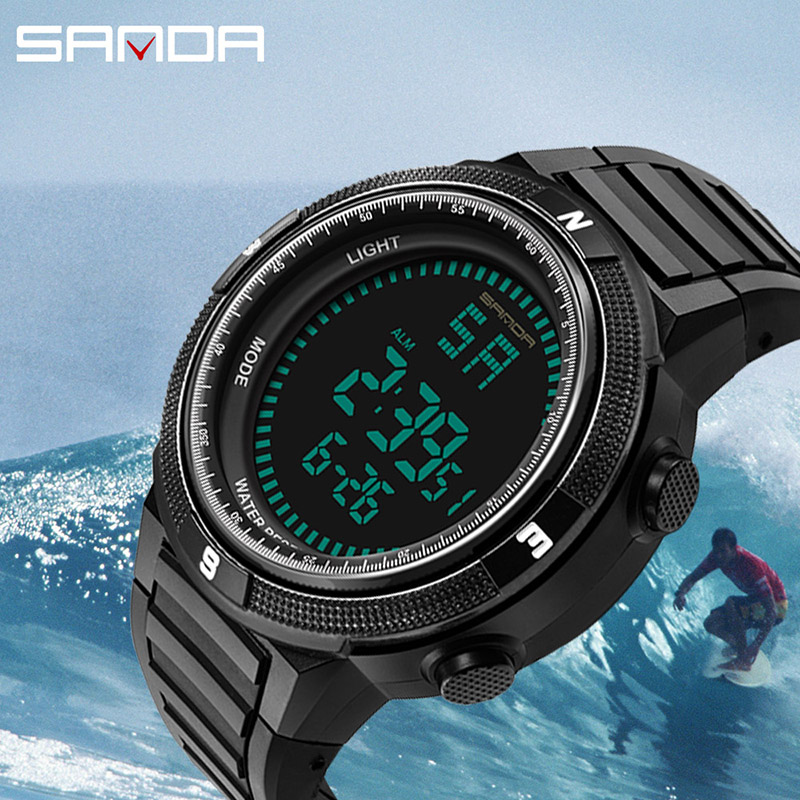 SANDA Luxury Brand Men Sports Watches Waterproof Digital LED Military Watch Men Fashion Casual Electronics Wristwatches Clock