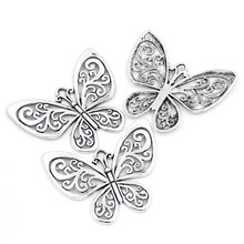 5Pcs Silver Tone Hollow Butterfly Pendants Jewelry Diy Making Finding Charms Component 5.7x5cm(2 2/8x2)