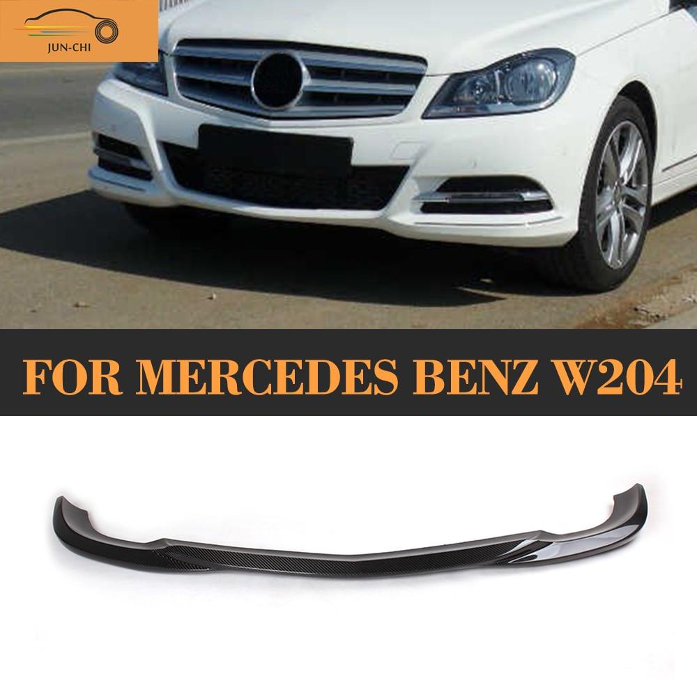 C Class Carbon Fiber Front Lip Spoiler for Mercedes Benz W204 Sport Bumper 2008 - 2013 D Sytle Car Styling