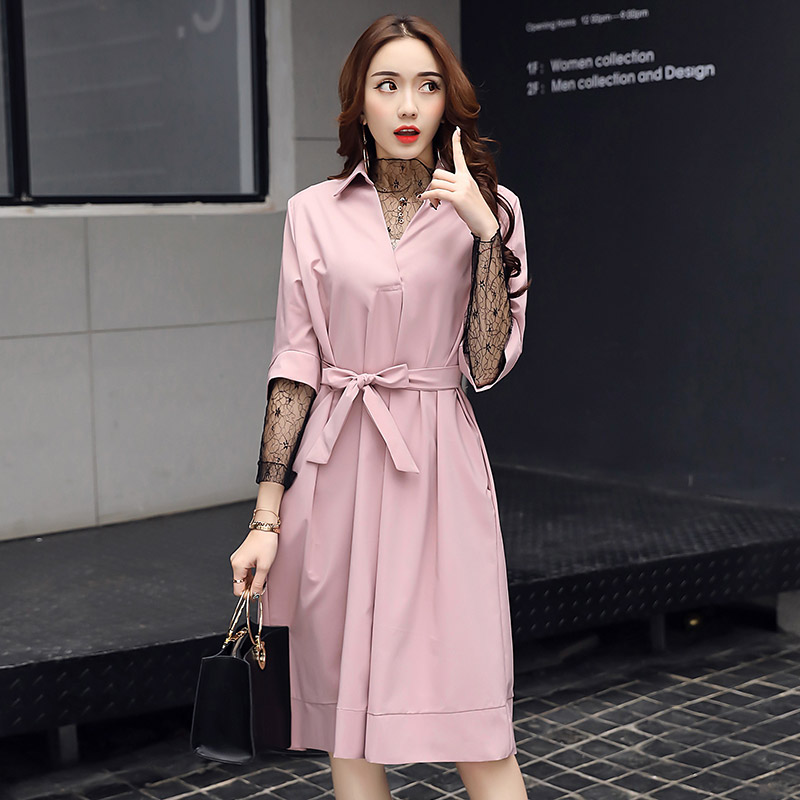 Manches Tournent Bas Longues Solides Mince Rose Robes ligne Festa Vers A Dentelle Mini Femmes Robe Printemps De 2018 Rétro Up Automne Le YpqwBaxB