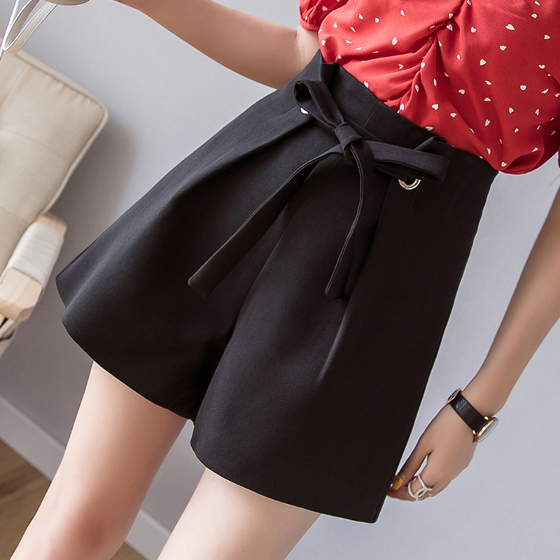 Korean Lace-up Black Gray   Shorts   Women Summer Plus Size   Short   Feminino Fashion Wide Leg   Shorts   Casual Loose   Short   Mujer Zipper