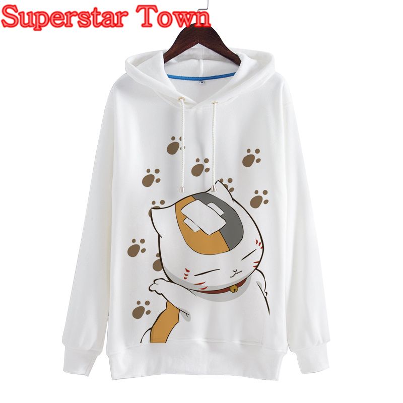Harajuku Women Hoodies Pullovers Long Sleeve Cat Sweatshirts Natsumes Book of Friends Winter Coat Japaneses Anime Clothes