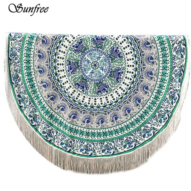 Sunfree 2017 HOT SALE Round Hippie Tassel Tapestry Beach Throw Mandala Towel Yoga Mat Bohemian Brand New High Quality Jan 12