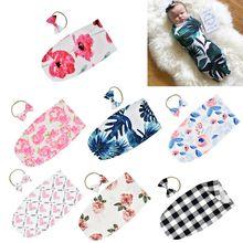 Newborn Infant Sleeping Bag Baby Fashion Printed Swaddle Blanket Muslin Wrap+Headband 2PCS New Born Photography Prop Set недорого