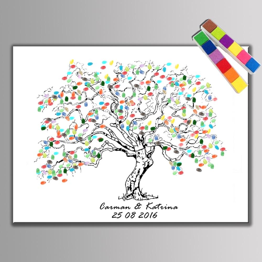 Hot!! Fingerprint Signature Guest Book Wedding Gift Party Supplies Baby Shower Fingerprint Tree Wedding Decoration