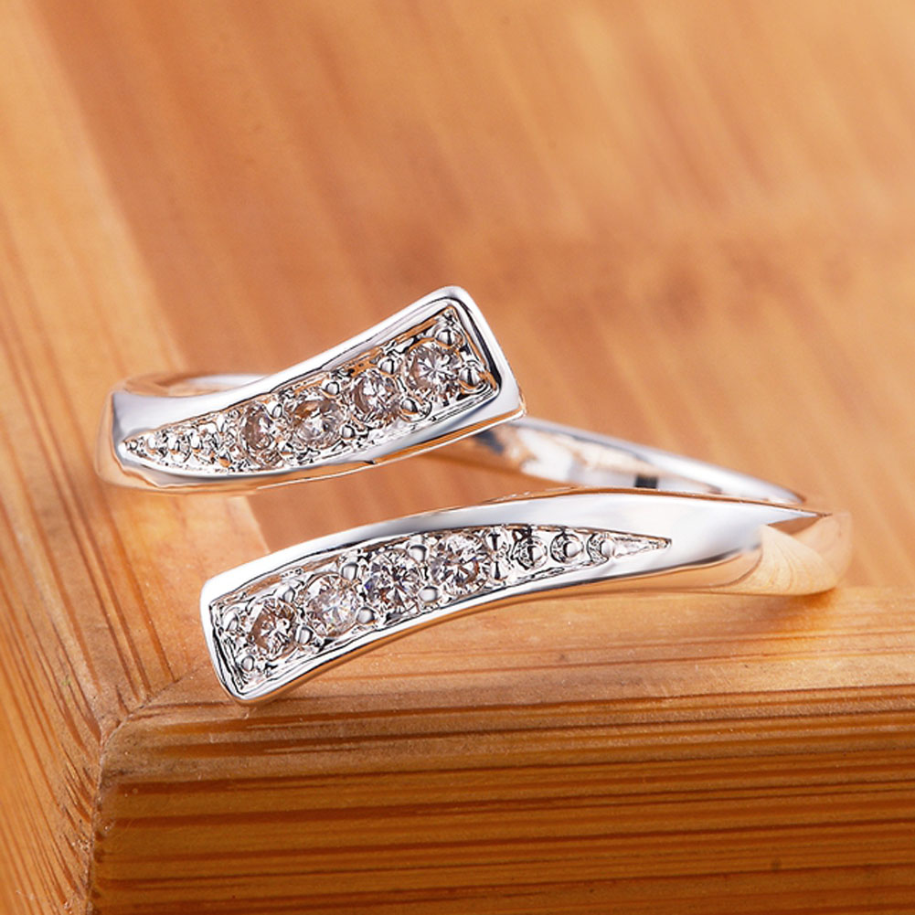 New Listing Silver Plated Rings Fashion Jewelry Rhinestone Open Crystal Fine Jewelry Women Lady Wedding Opening Ring