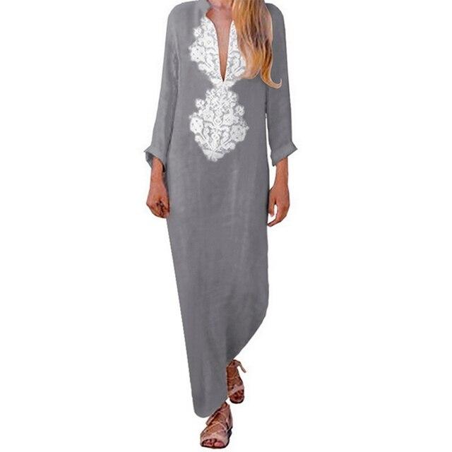 e3599022e0e Купить Платья | LAAMEI 2018 Autumn Women Plus Size Long Sleeve Print ...