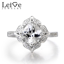 Leige Jewelry Natural White Topaz Ring Engagement Ring Gemstone Ring 925 Sterling Silver November Birthstone Fine Jewelry Gifts