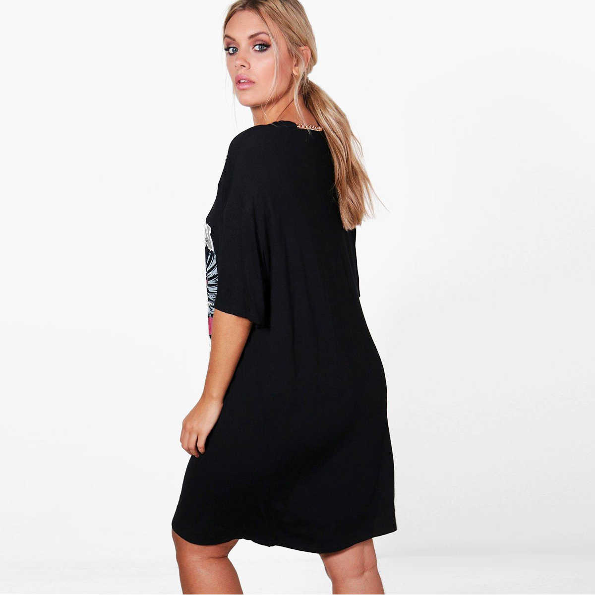 a3f7f0abb0 ... Kissmilk Plus Size Women Animal BOSTON Print T-shirt Dress Distressed  Punk Shirt Hollow Out ...