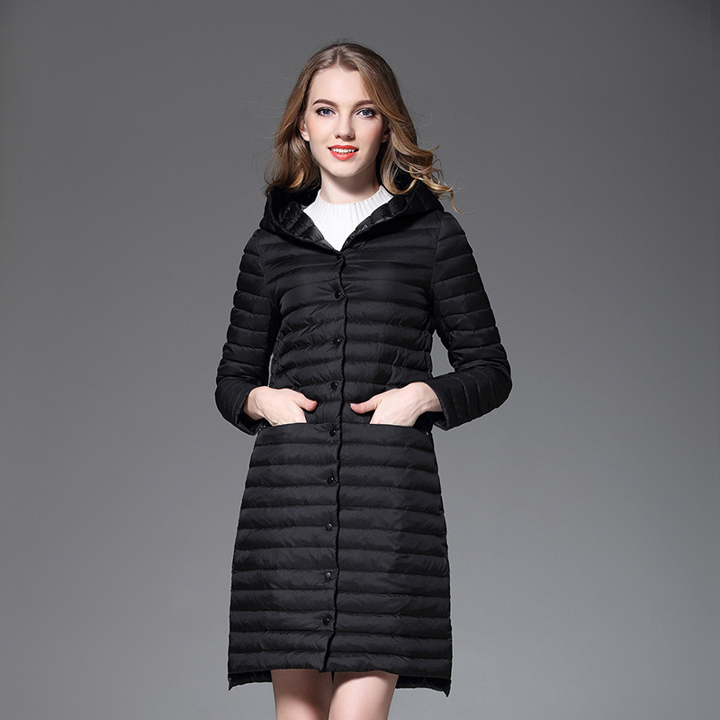 Spring and Autumn Europe and the United States new Long section Hooded Fine lines Lightweight models