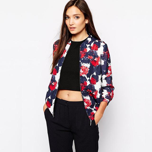 2016 Primavera Flor de Impressão Mulheres Jaqueta Bomber Jackets Brasão Moda Outono Básico Mulher Floral Magro Casual Jacket Negócios