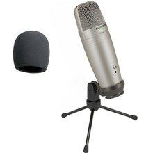 Microfone condensador samson, c01u pro usb, de estúdio, com monitoramento em tempo real, diafragma grande, microfone condensador para radiodifusão