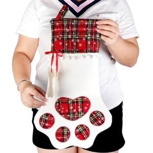 Image 3 - OurWarm Plaid Christmas Stocking New Year Gift Bag for Pet Dog Cat Christmas Goods Xmas Tree Hanging Ornaments navidad 2018