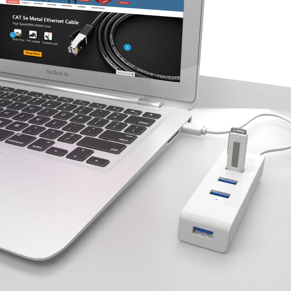 SAMZHE 4 Ports USB 3.0 HUB Portable USB 3.0 Splitter Adapter for Laptop,Macbook,Ultrabook,Computer,PC with Additional Power