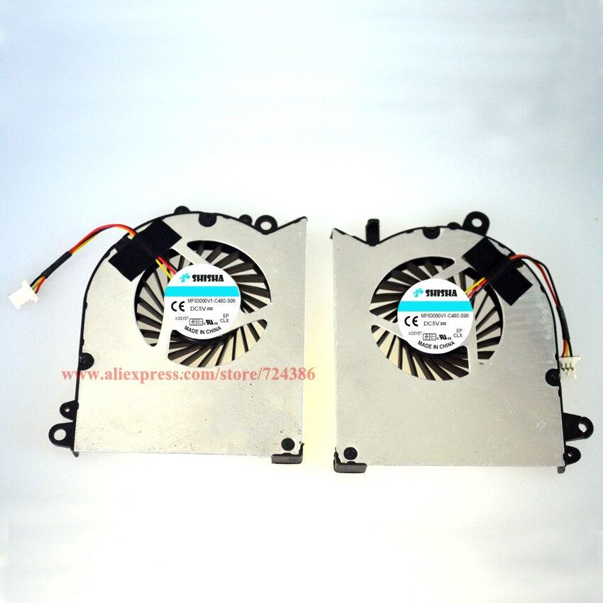 Shisha tout nouveau ventilateur GS60 ordinateur portable GPU et CPU ventilateur de refroidissement pour MSI GS60 PAAD06015SL 0.55A 5VDC N293