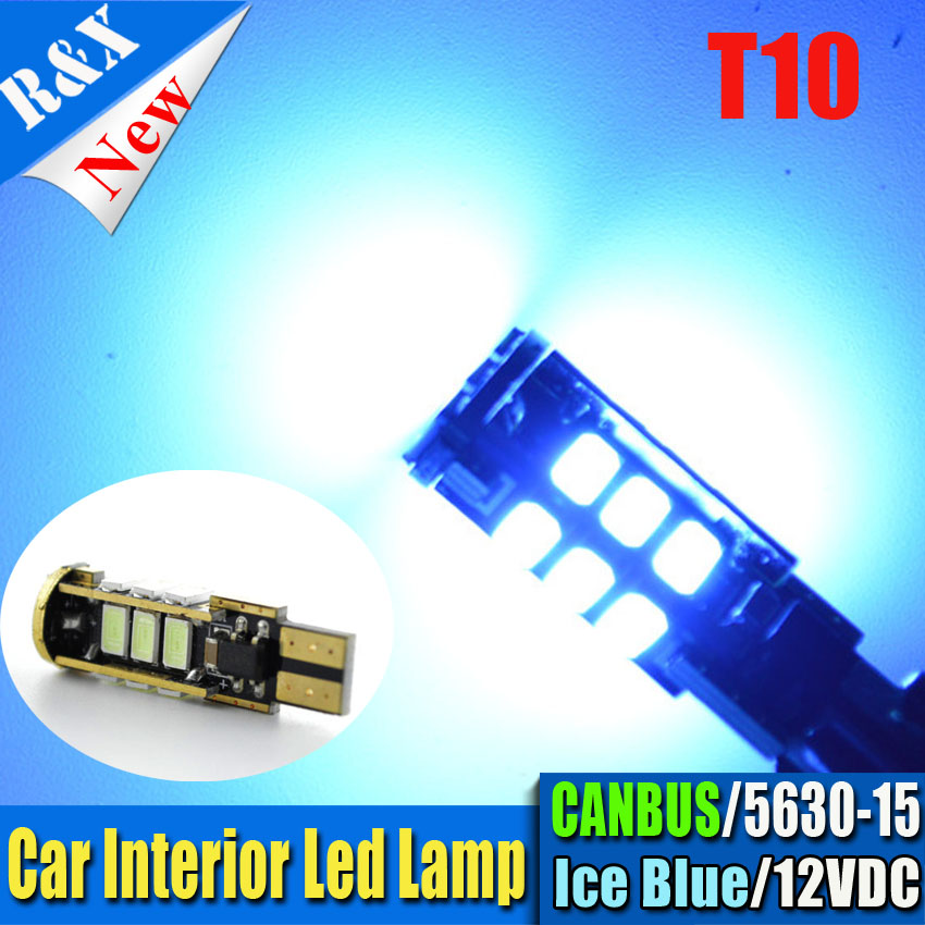 1pcs High quality Ice blue T10 CANBUS 15SMD 5630 194 W5W 501 12v LED Car Side Tail Light Bulb t10 led canbus w5w led canbus 10pcs high quality t10 canbus 5smd 5050 194 w5w 501 5050 5smd led white car side tail light bulb t10 led canbus w5w led canbus