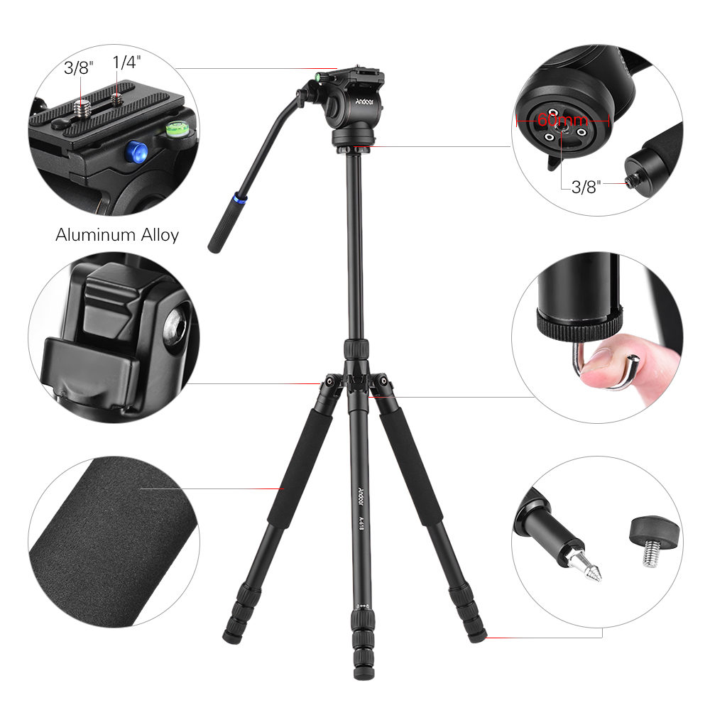 "Andoer A 618 180cm/71"" Multi functional Camera Tripod Video Monopod w/ Hydraulic Damping Head for Canon Nikon DSLR Sony A7 ILDC-in Tripods from Consumer Electronics    2"