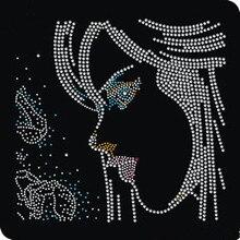 FS (2pc/lot) Beauty Girl iron on rhinestone appliques motif motifs hot fix transfer