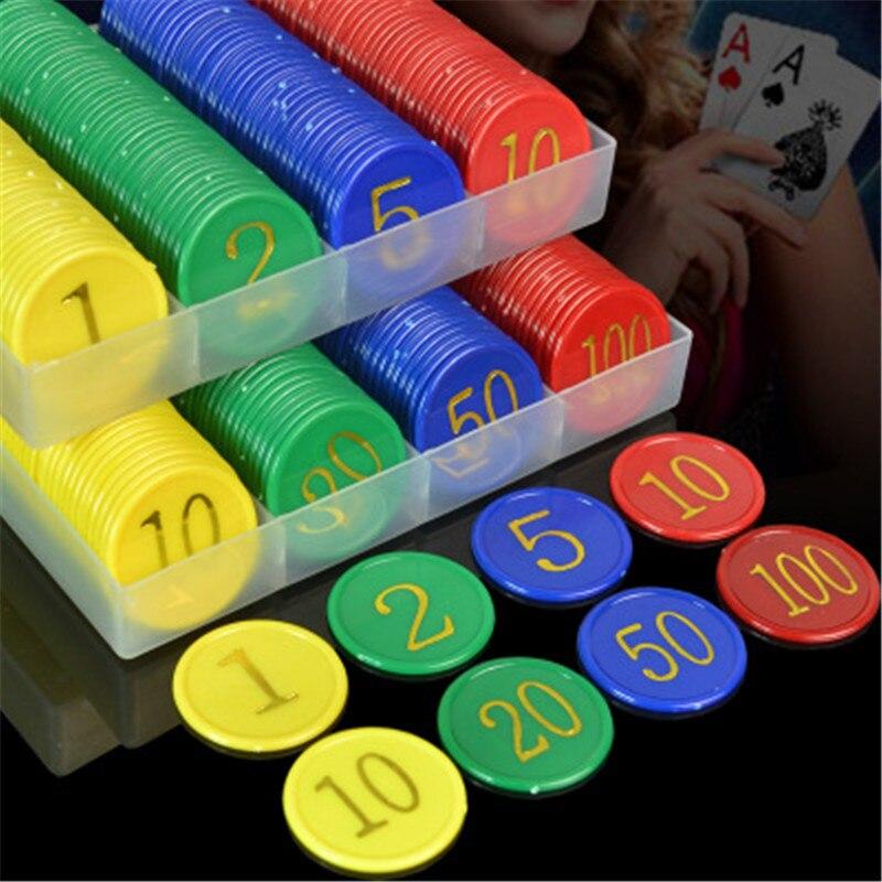 160 Pcs De Plástico Poker Chip com 4 Dourada Grande Números de Impressão para Jogos Tokens Moedas De Plástico-Amarelo + Verde + vermelho + Azul