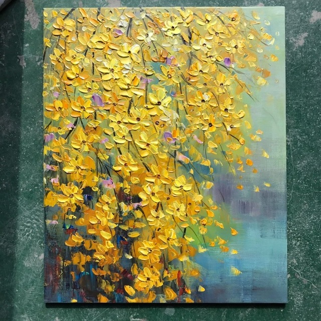 Top aritist Hand Painted flower Oil Paintings on Canvas modern knife tree oil paintings Wall Art Picture Home Decoration