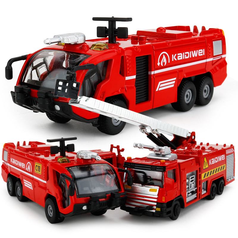 Alloy Engineering Toy New Inertia Pull Back Car Fire Truck With Ladder Car Toys High Pressure Water Tank Truck Model Gift
