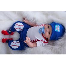 With Baseball Clothing 20 Inch Reborn Baby Boy Lifelike Silicone Soft Newborn Babies Real Touch Doll Toy Kids Birthday Xmas Gift