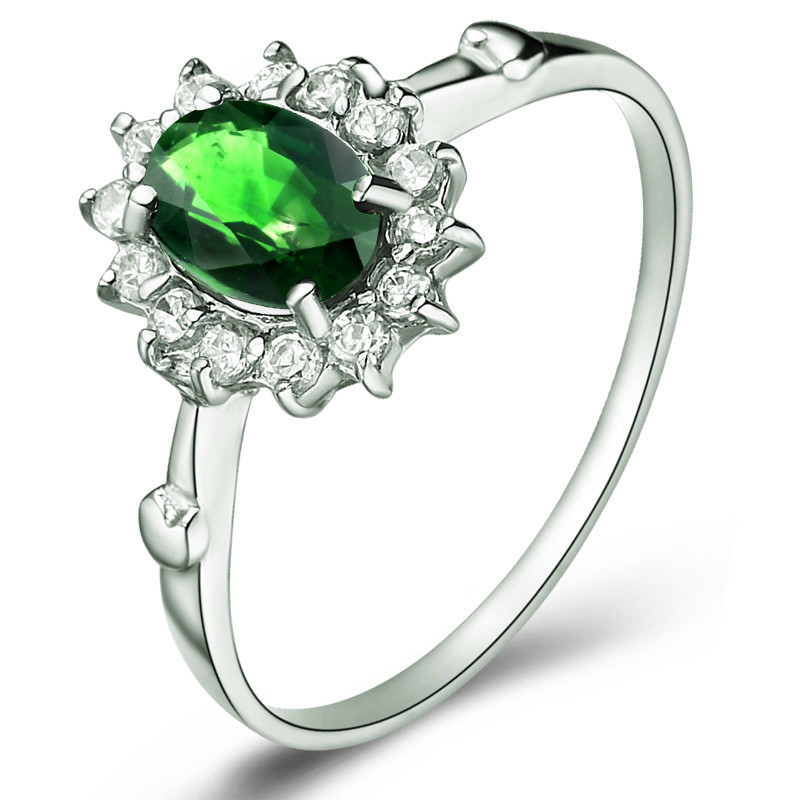 Natural Diopside Ring Russian Emerald 925 Sterling silver Woman Fashion Fine Elegant Jewelry Princess Birthstone Gift  SR1198DINatural Diopside Ring Russian Emerald 925 Sterling silver Woman Fashion Fine Elegant Jewelry Princess Birthstone Gift  SR1198DI