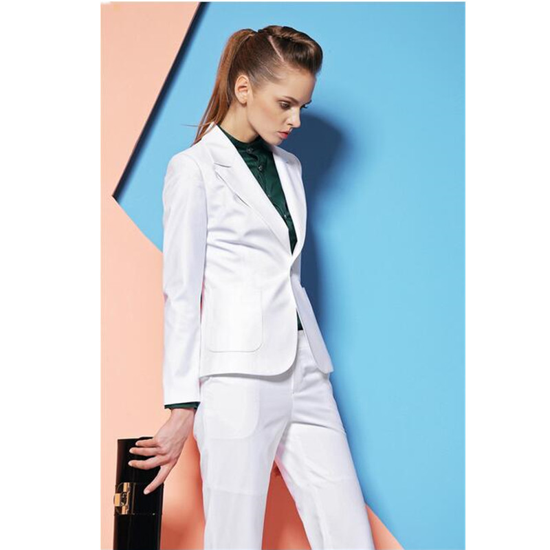 New Custom made White Elegant Autumn Winter Formal Work Wear Women Pants Suits Professional Sets For Office Ladies