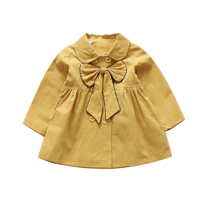 Autumn Baby Girls Outerwe Coat Kids Long Sleeve Bowknot Design Cute Princess   Trench   Coat Toddler Casual Outerwear for girls