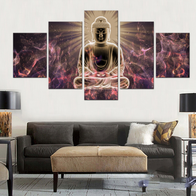 5 Pcs Buddha with Colorful Clouds Canvas Print Painting Picture Traditional Buddha Statue Pics Abstract Creative Wall Art Decor