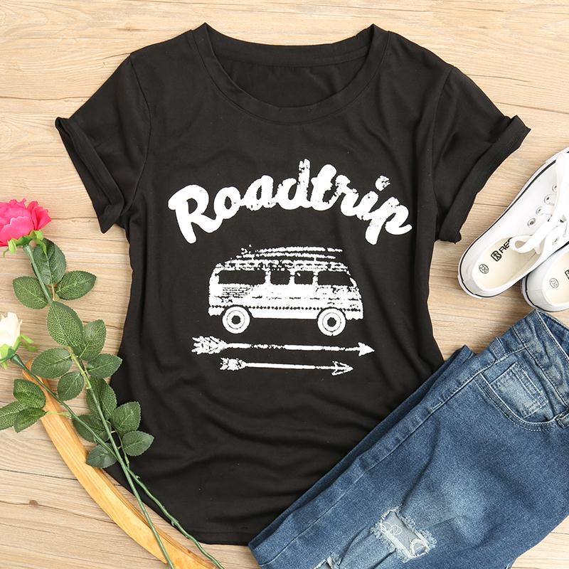 2018 Hot Sale Women T Shirt Road Trip Arrow O-Neck Letter Print Female Casual Plus Size Tops Tees 2XL3XL Oversize Summer Casual