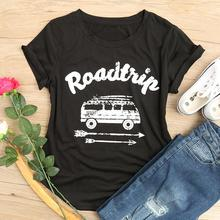 2018 Hot Sale Women T Shirt Road Trip Arrow O-Neck Letter Pr