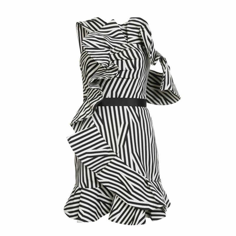 fd92d3178 ... Self portrait dress 2018 women sexy one shoulder white and black striped  chiffon summer dress elegant ...
