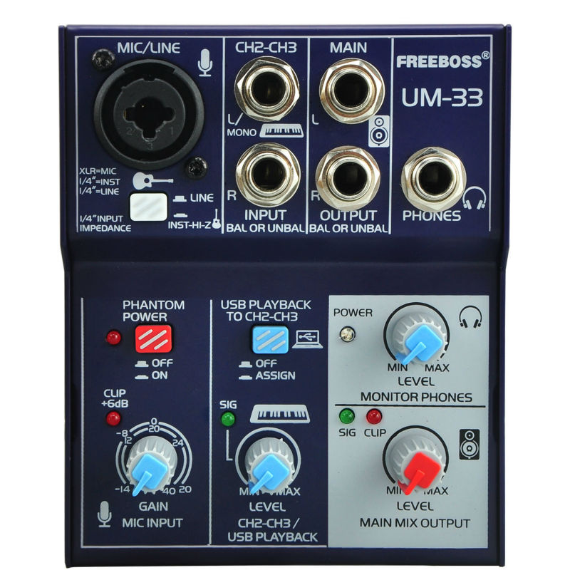 Freeboss UM-33 3 Channels Input Mic Line Insert Stereo USB Playback USB Interface Audio Mixer