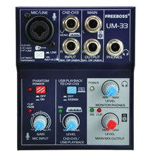 Freeboss UM 33 3 Channels Input Mic Line Insert Stereo USB Playback USB Interface Audio Mixer
