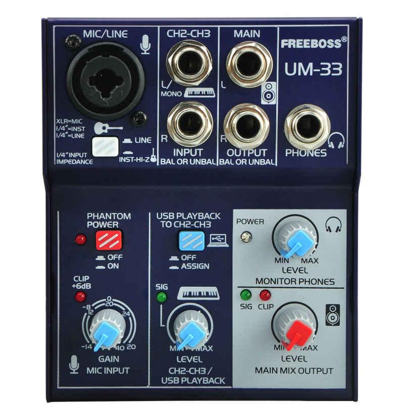 Freeboss UM-33 3 チャンネル入力マイクライン挿入ステレオ USB 再生 USB インターフェースオーディオミキサー
