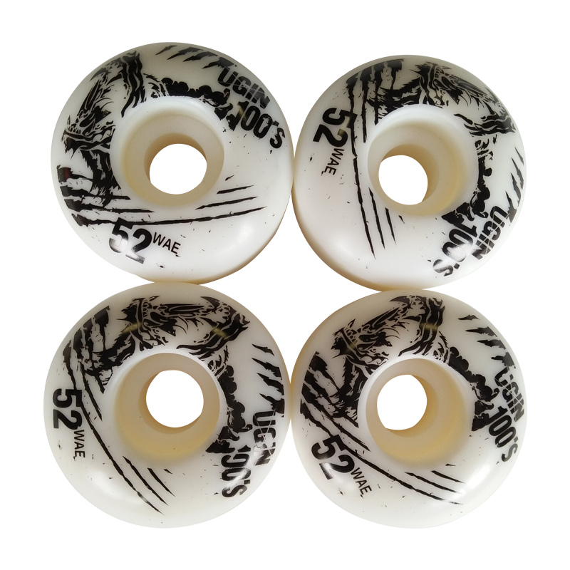 4x UGIN Skateboard Double Wane Wheels Resilient PU SHR-100A Extreme The Invert Board Wheel High Rebound 52CM * 30CM Accessories