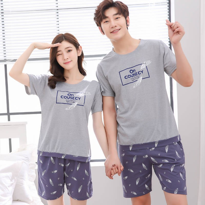 Pajama-Sets Nightwear Sleepwear Couple Knitted Cotton Summer Men's Print Hombre title=
