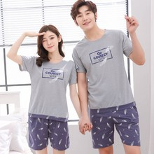 Summer Knitted Cotton Print Pajama Sets Men's Sleep&