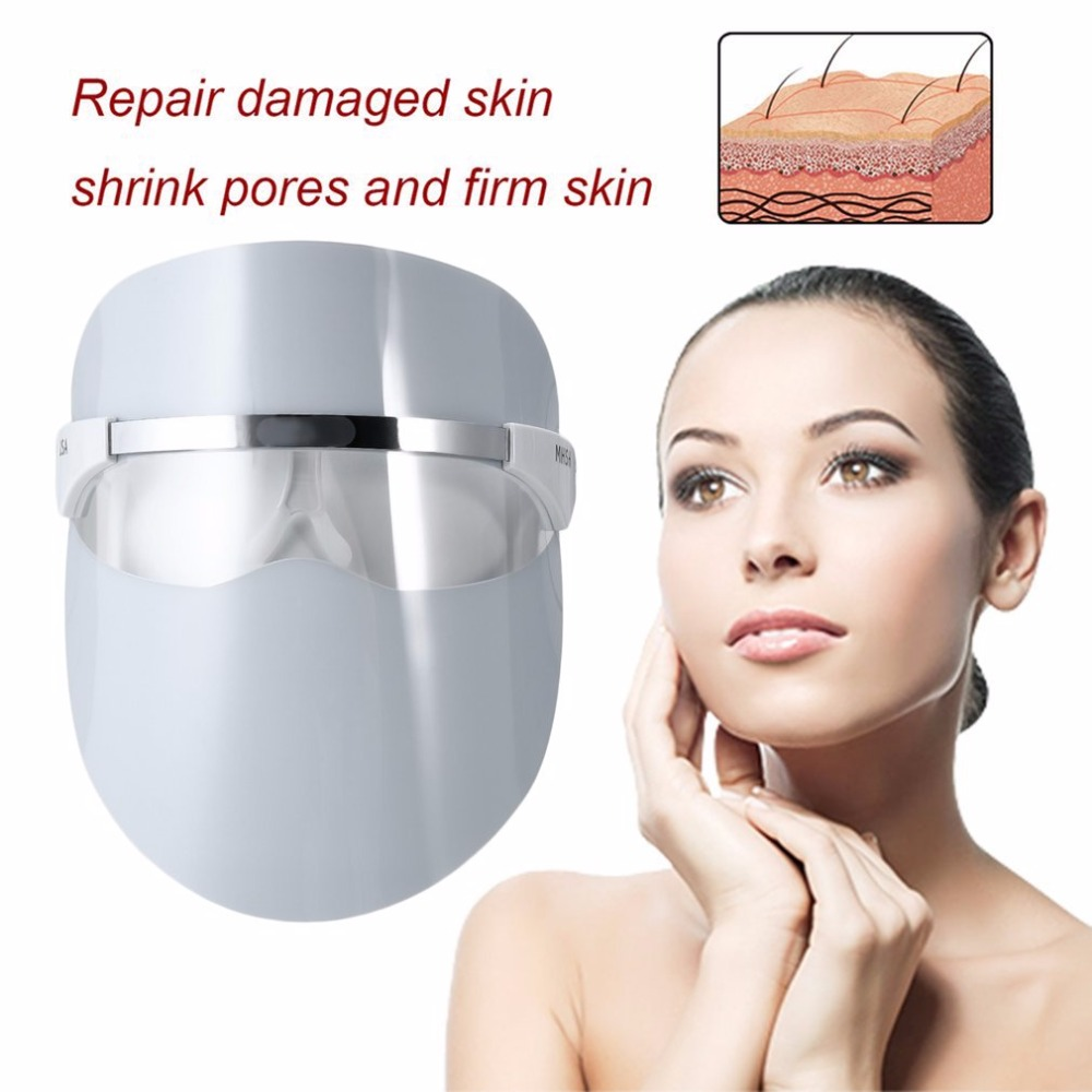 Red LED Light Beauty Full Face Mask Facial Skin Daily Care Boost Blood Circulation Red LED Light Face Massage Instrument kj6021 lcd digital moisture monitor detector face skin care analyzer facial skin moisture tester pen portable beauty instrument