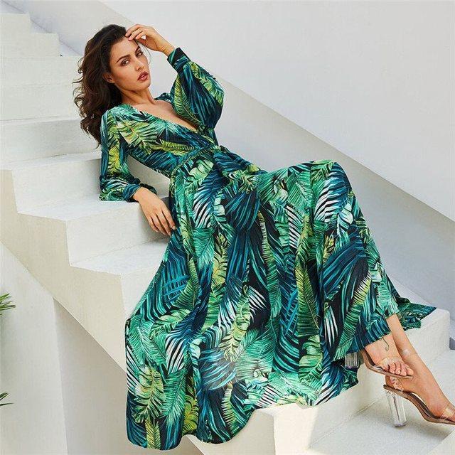 2019 Boho Casual V Neck Belt Lace Up Tunic Draped Plus Size Dress Long Sleeve Dress Green Tropical Beach Vintage Maxi Dresses