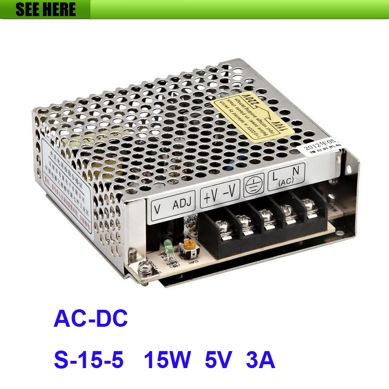 Free Shipping Universal 5V 3A 15W Switch Power Supply Driver Switching For LED Strip Light Display 110V 220V S-15-5 switching led power supply36v 120w ac100 240v to dc36v 3 3a driver adapter for led strips light cnc cctv wholesale free shipping