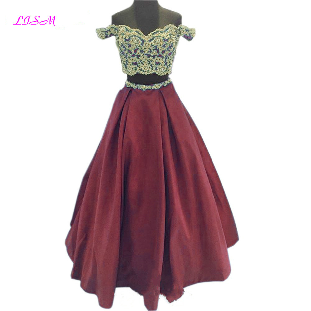 LISM Burgundy Off the Shoulder Lace Prom Dress for Girls Lovely Two Pieces Long Pageant Gowns Satin Robe Soiree Evening Dresses in Prom Dresses from Weddings Events